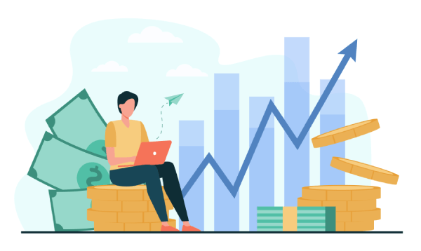 אדם עם מחשב, גרף עולה וכסף
